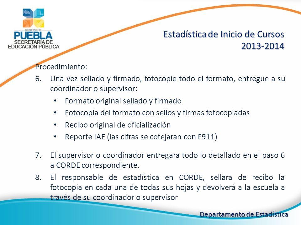 Estadística de Inicio de Cursos 2013-2014