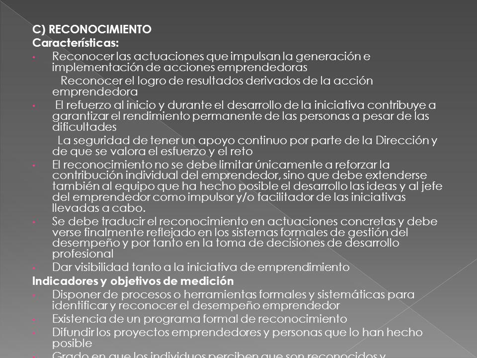 C) RECONOCIMIENTOCaracterísticas: Reconocer las actuaciones que impulsan la generación e implementación de acciones emprendedoras.
