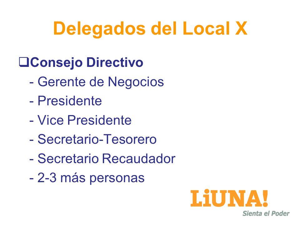 Delegados del Local X Consejo Directivo - Gerente de Negocios