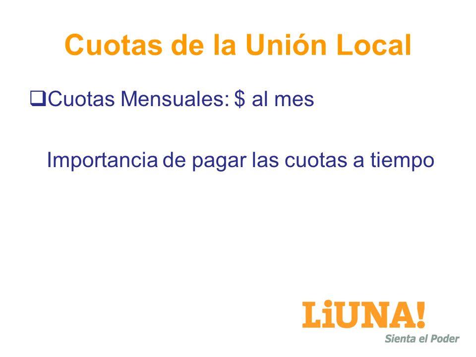 Cuotas de la Unión Local