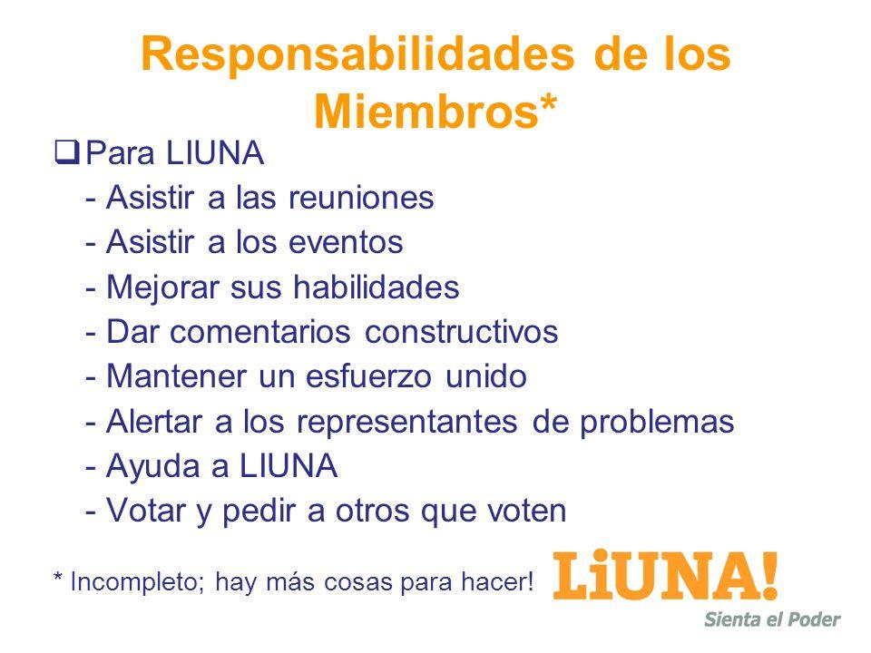 Responsabilidades de los Miembros*