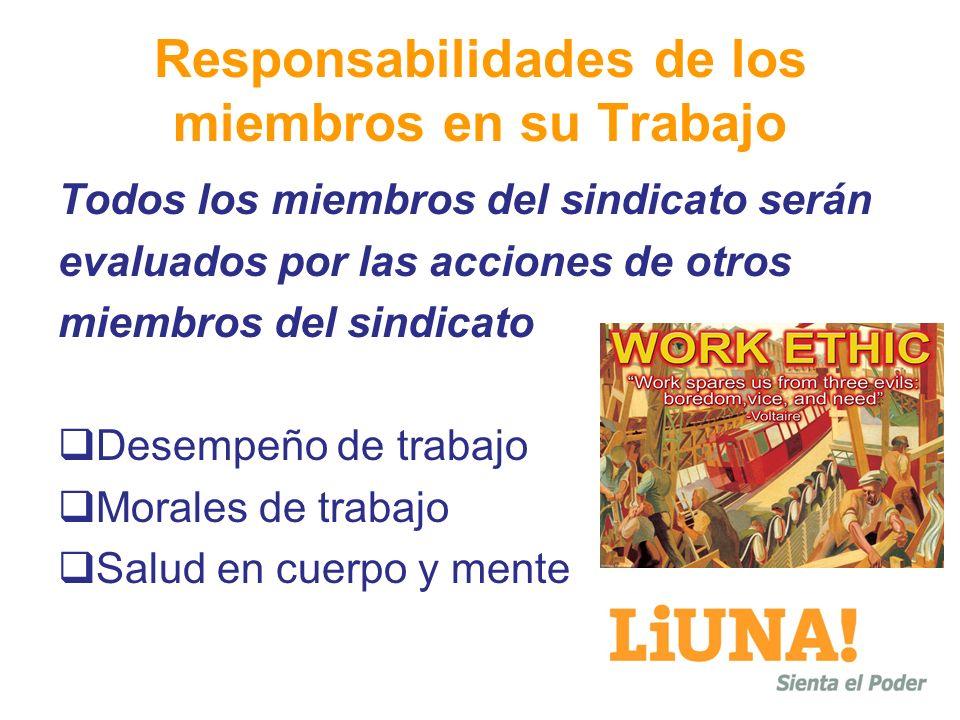 Responsabilidades de los miembros en su Trabajo
