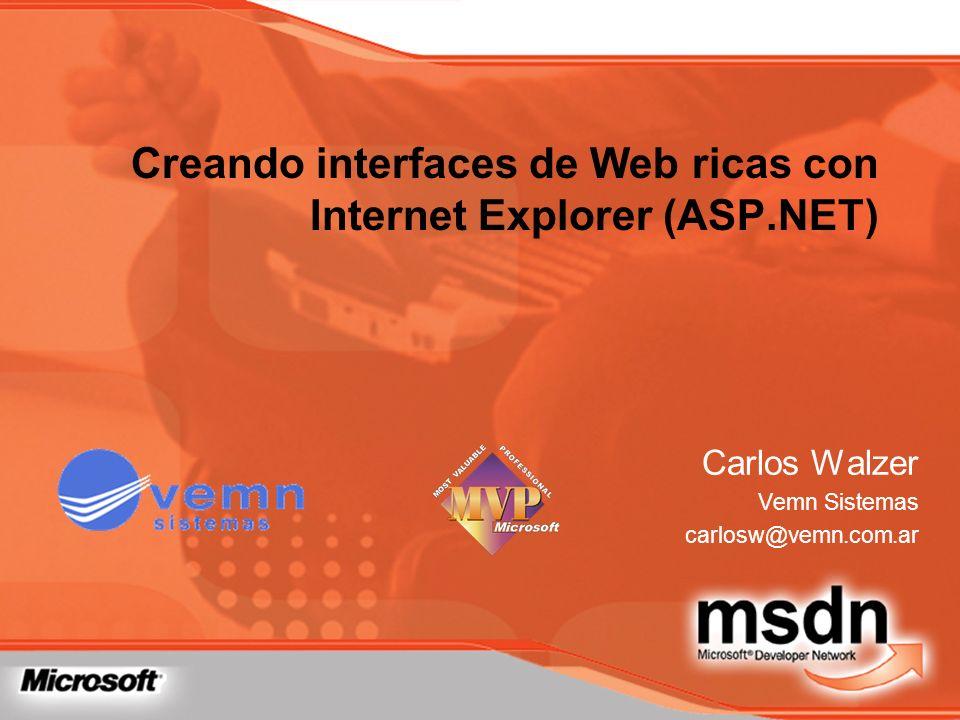 Creando interfaces de Web ricas con Internet Explorer (ASP.NET)