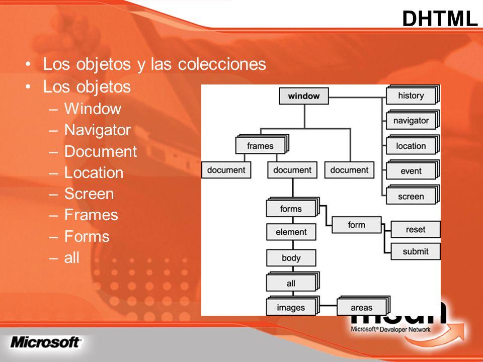 DHTML Los objetos y las colecciones Los objetos Window Navigator