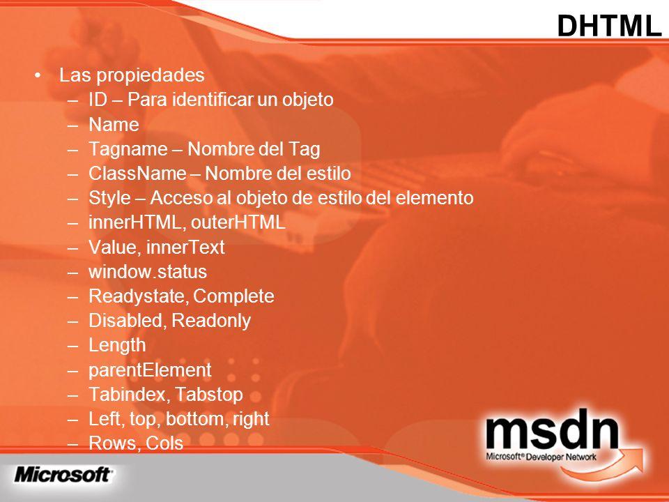 DHTML Las propiedades ID – Para identificar un objeto Name