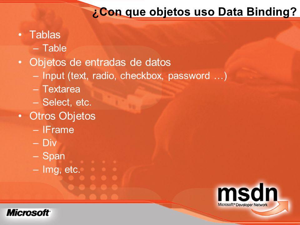 ¿Con que objetos uso Data Binding