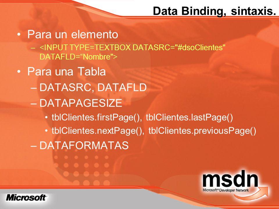 Data Binding, sintaxis. Para un elemento Para una Tabla