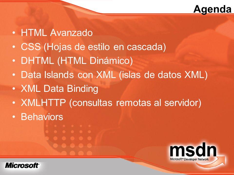 Agenda HTML Avanzado CSS (Hojas de estilo en cascada)