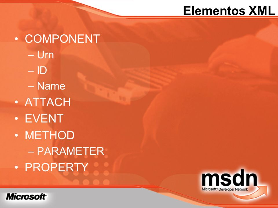 Elementos XML COMPONENT ATTACH EVENT METHOD PROPERTY Urn ID Name