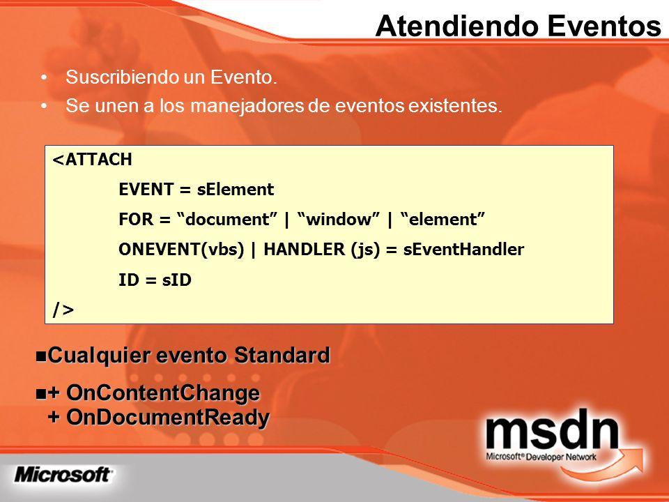 Atendiendo Eventos Cualquier evento Standard