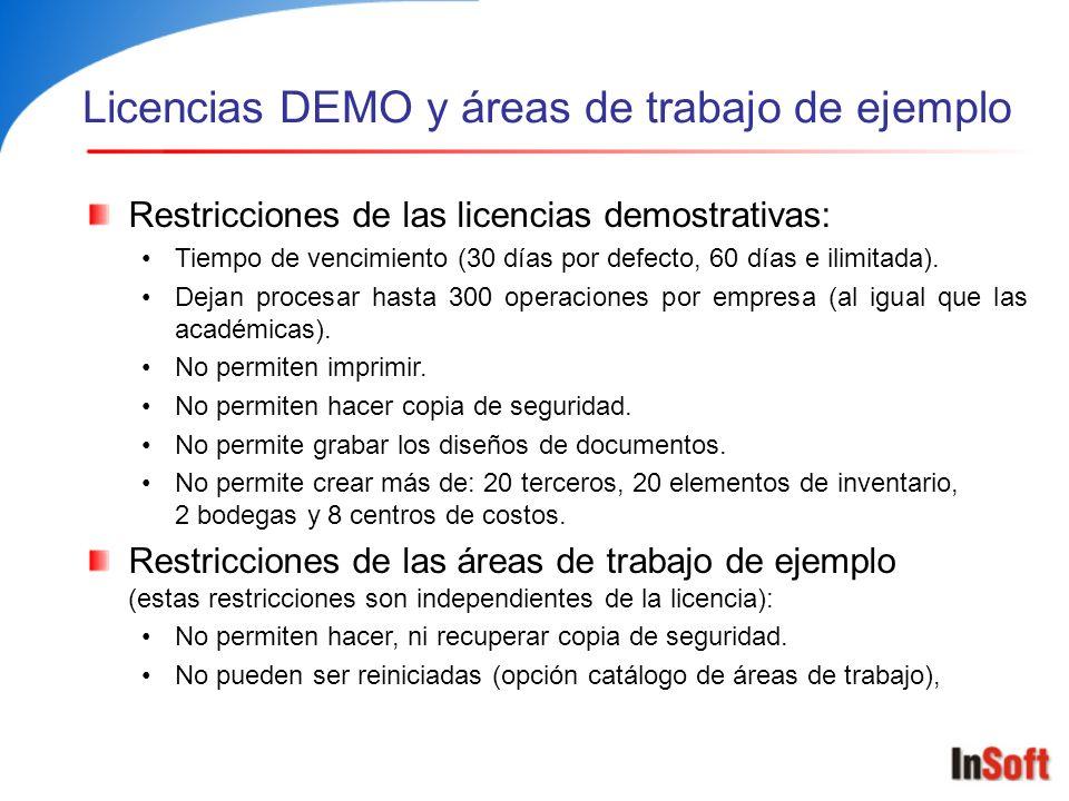 Licencias DEMO y áreas de trabajo de ejemplo