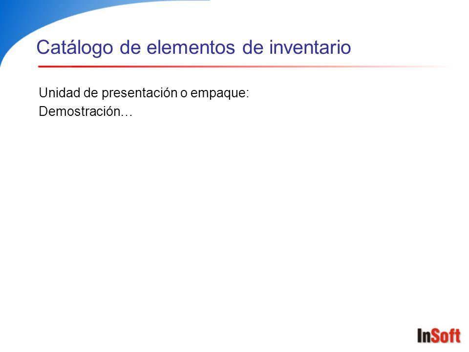 Catálogo de elementos de inventario