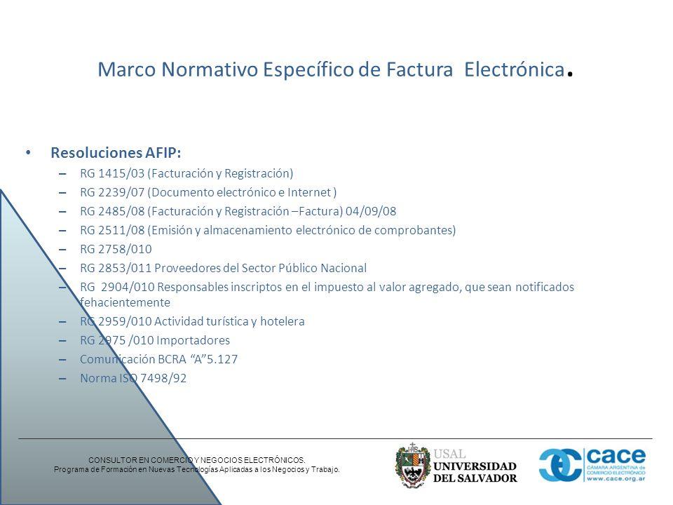 Marco Normativo Específico de Factura Electrónica.