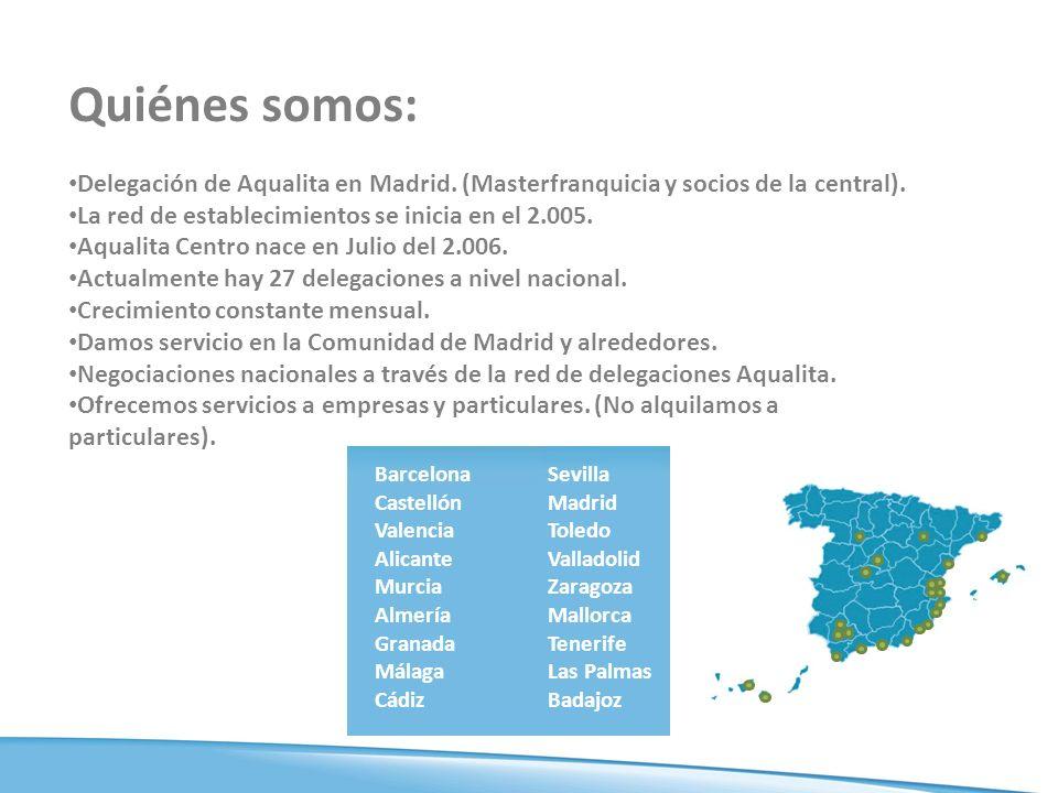Quiénes somos: Delegación de Aqualita en Madrid. (Masterfranquicia y socios de la central). La red de establecimientos se inicia en el 2.005.