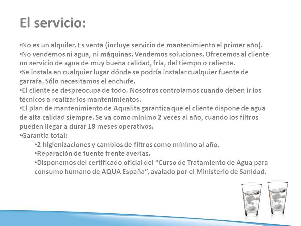El servicio: No es un alquiler. Es venta (incluye servicio de mantenimiento el primer año).