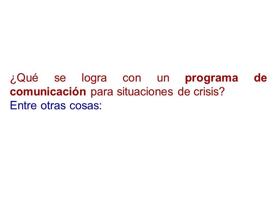 ¿Qué se logra con un programa de comunicación para situaciones de crisis
