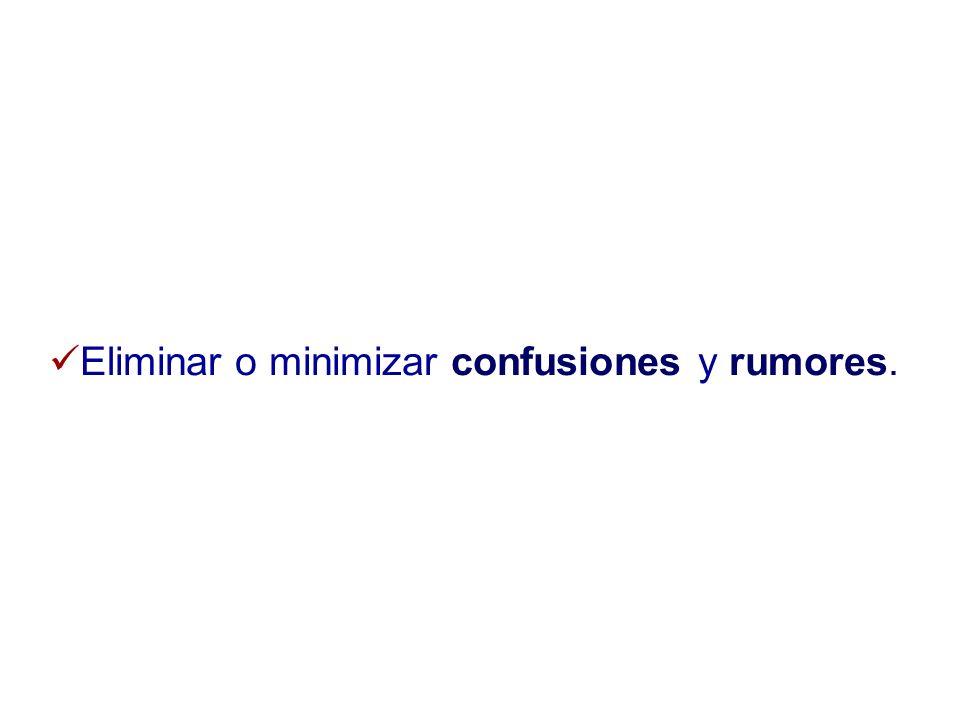 Eliminar o minimizar confusiones y rumores.