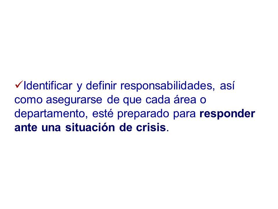 Identificar y definir responsabilidades, así como asegurarse de que cada área o departamento, esté preparado para responder ante una situación de crisis.