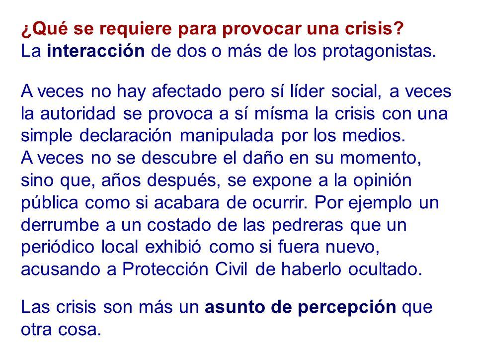 ¿Qué se requiere para provocar una crisis