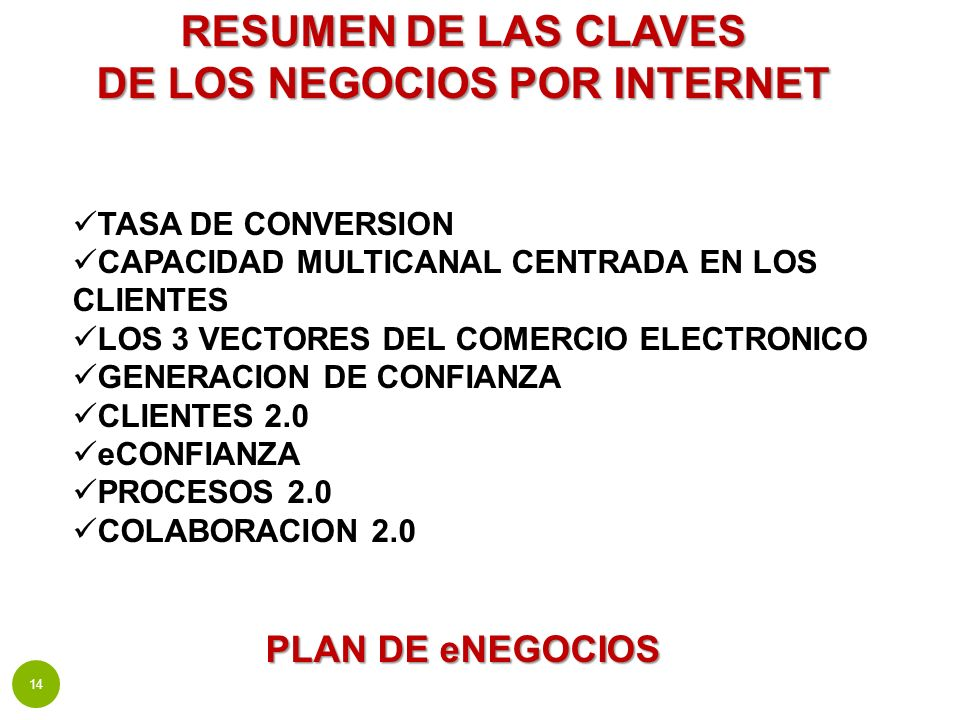 RESUMEN DE LAS CLAVES DE LOS NEGOCIOS POR INTERNET