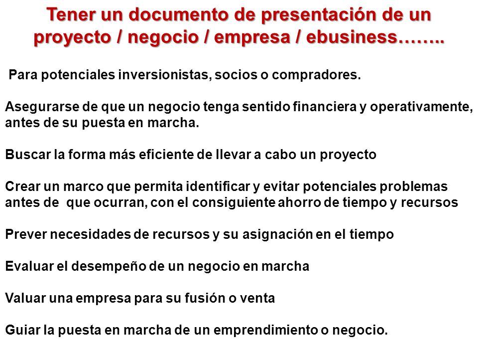 Tener un documento de presentación de un proyecto / negocio / empresa / ebusiness……..