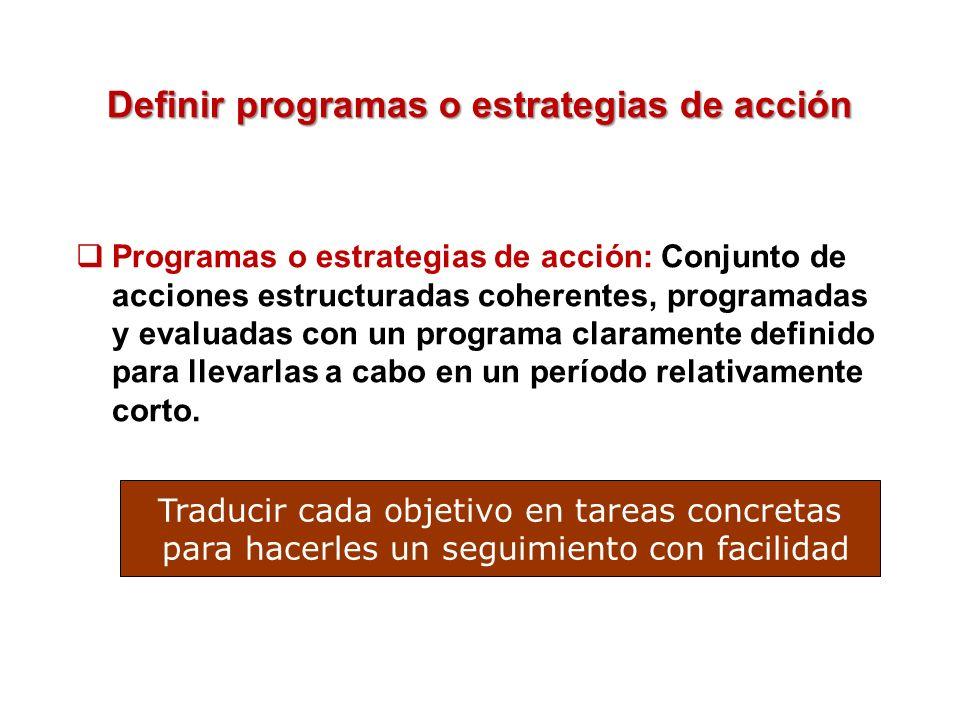 Definir programas o estrategias de acción