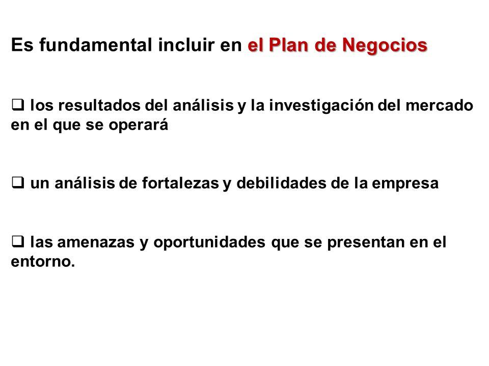 Es fundamental incluir en el Plan de Negocios