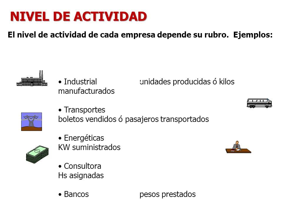 NIVEL DE ACTIVIDAD El nivel de actividad de cada empresa depende su rubro. Ejemplos: Industrial unidades producidas ó kilos manufacturados.