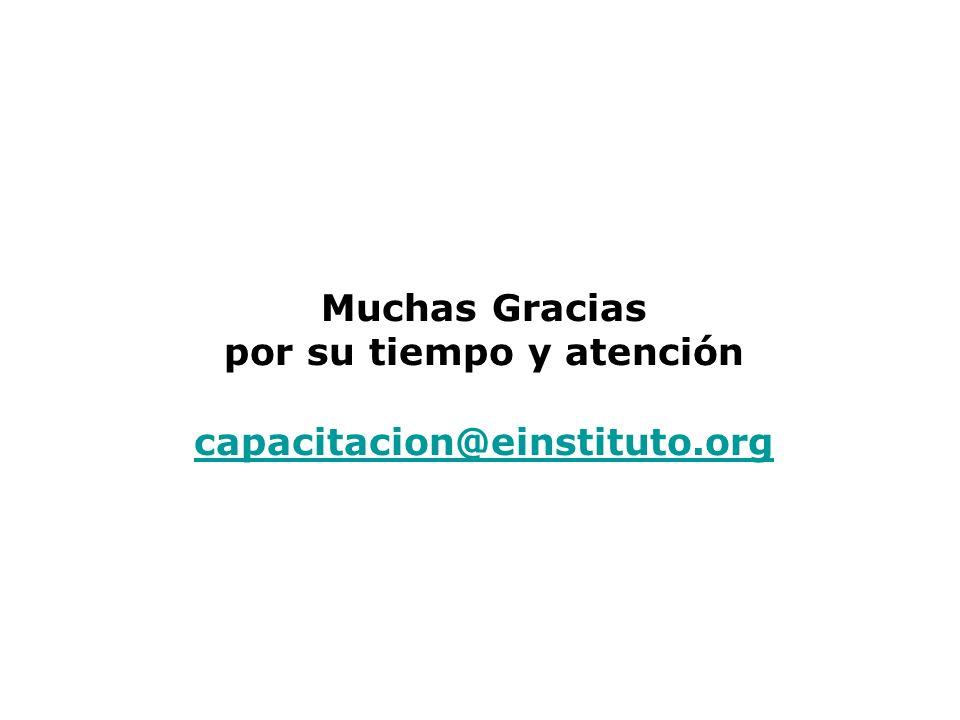 Muchas Gracias por su tiempo y atención capacitacion@einstituto.org