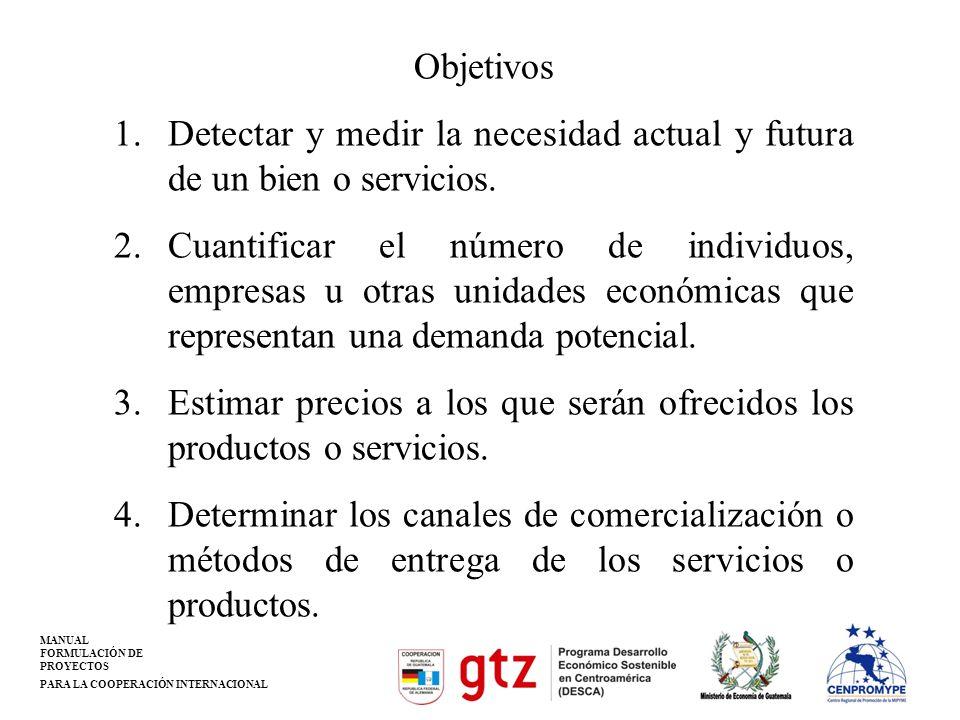 Objetivos Detectar y medir la necesidad actual y futura de un bien o servicios.