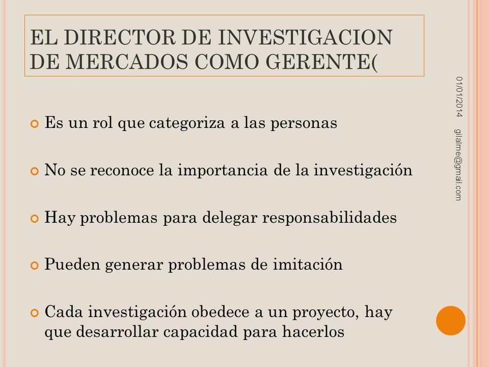 EL DIRECTOR DE INVESTIGACION DE MERCADOS COMO GERENTE(