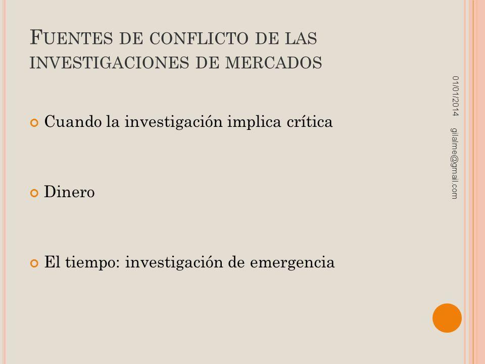 Fuentes de conflicto de las investigaciones de mercados