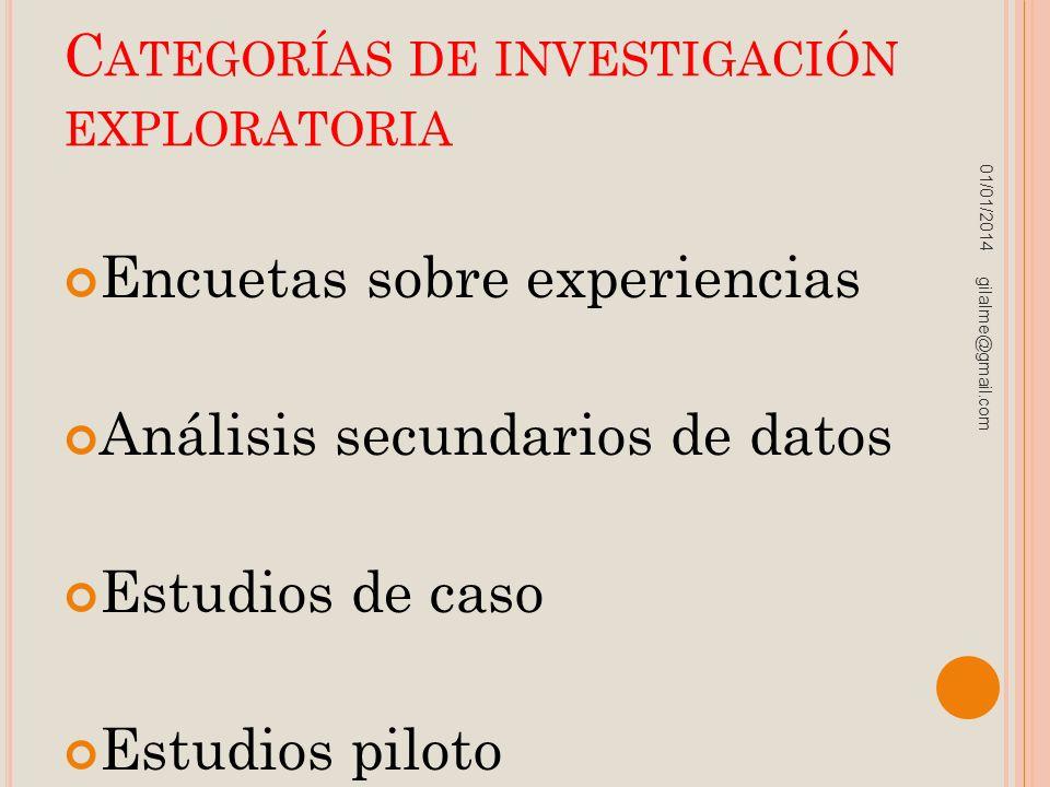 Categorías de investigación exploratoria