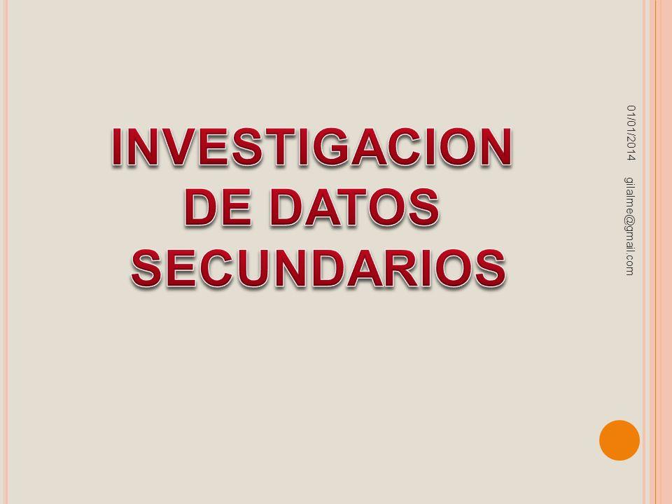 INVESTIGACION DE DATOS SECUNDARIOS