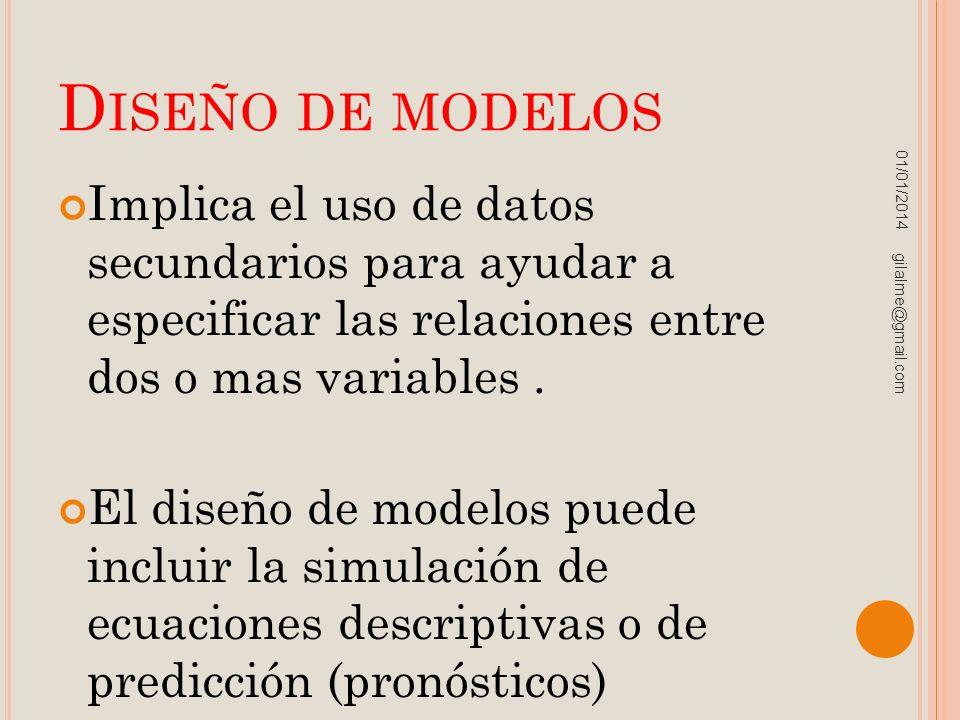 Diseño de modelos 23/03/2017. Implica el uso de datos secundarios para ayudar a especificar las relaciones entre dos o mas variables .