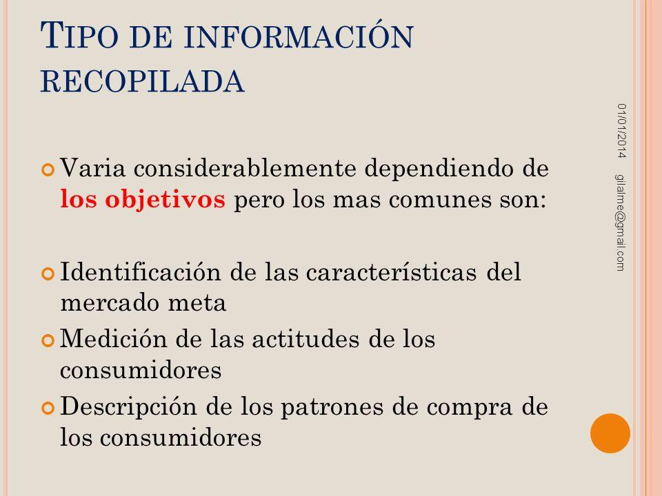 Tipo de información recopilada