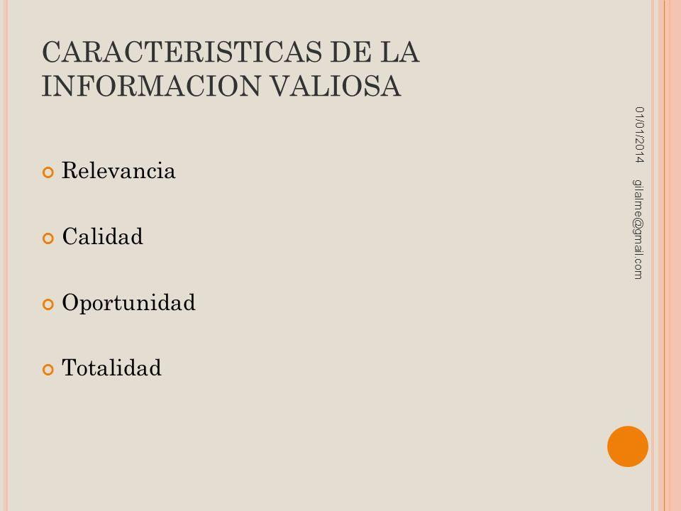 CARACTERISTICAS DE LA INFORMACION VALIOSA