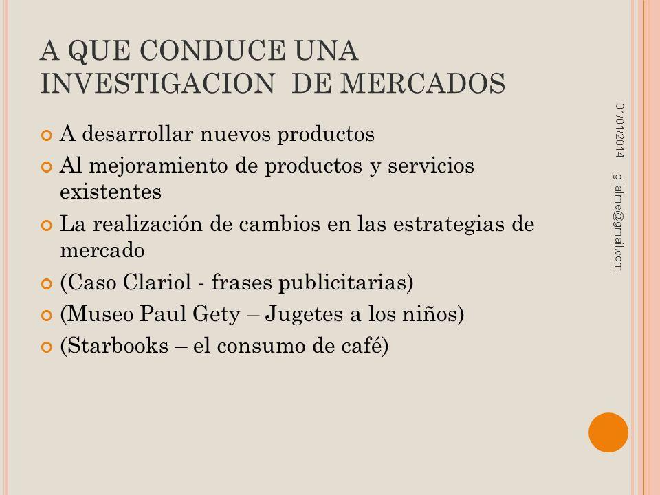 A QUE CONDUCE UNA INVESTIGACION DE MERCADOS