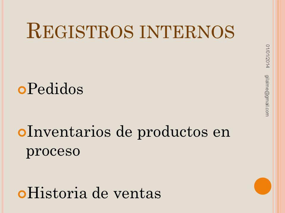Registros internos Pedidos Inventarios de productos en proceso