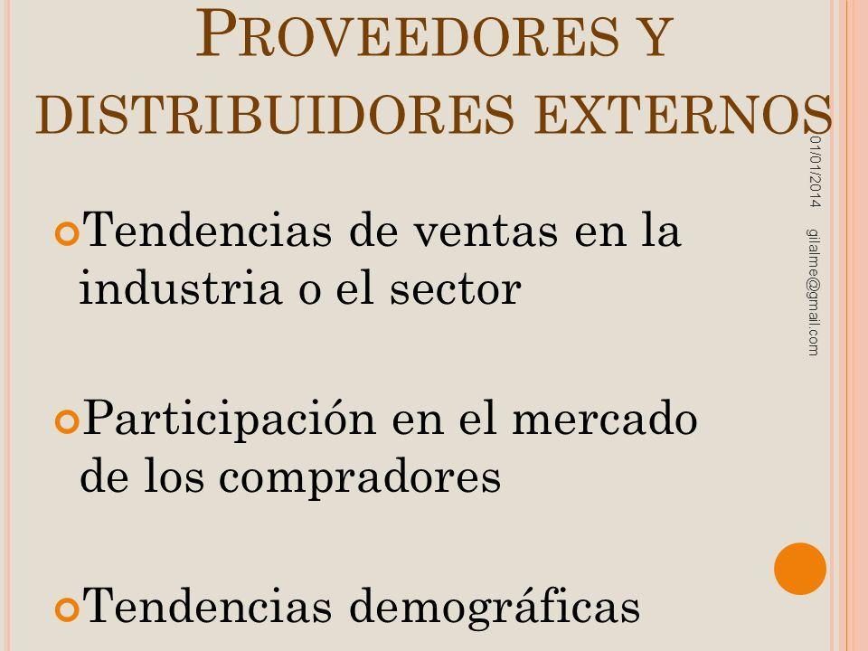 Proveedores y distribuidores externos