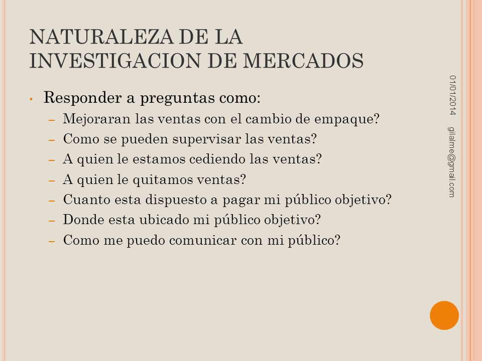 NATURALEZA DE LA INVESTIGACION DE MERCADOS