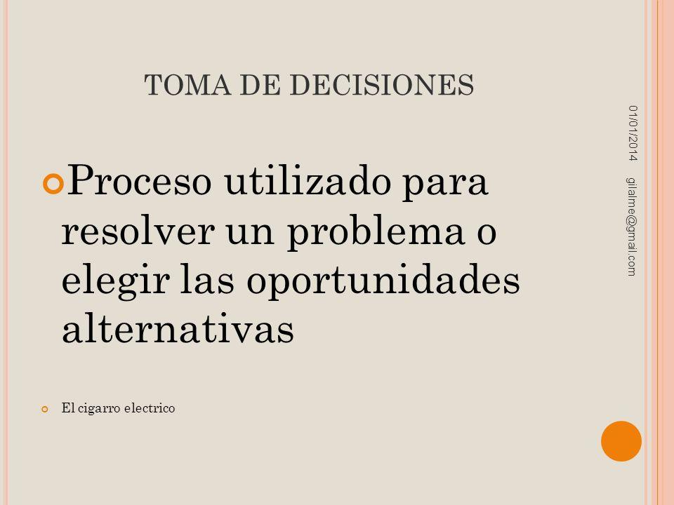 TOMA DE DECISIONES 23/03/2017. Proceso utilizado para resolver un problema o elegir las oportunidades alternativas.
