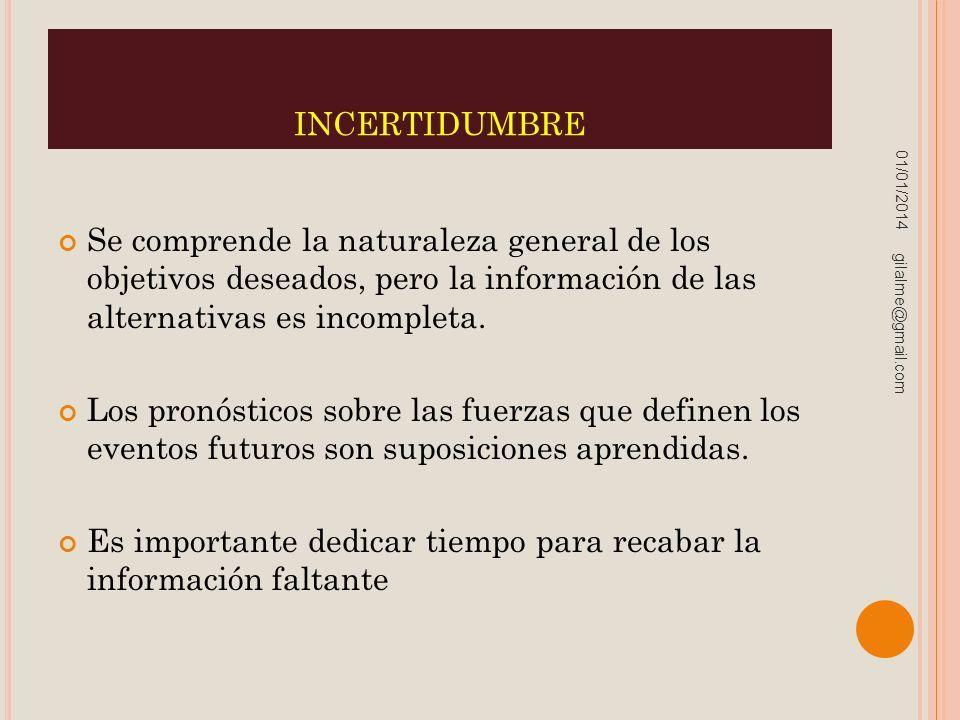 incertidumbre 23/03/2017. Se comprende la naturaleza general de los objetivos deseados, pero la información de las alternativas es incompleta.