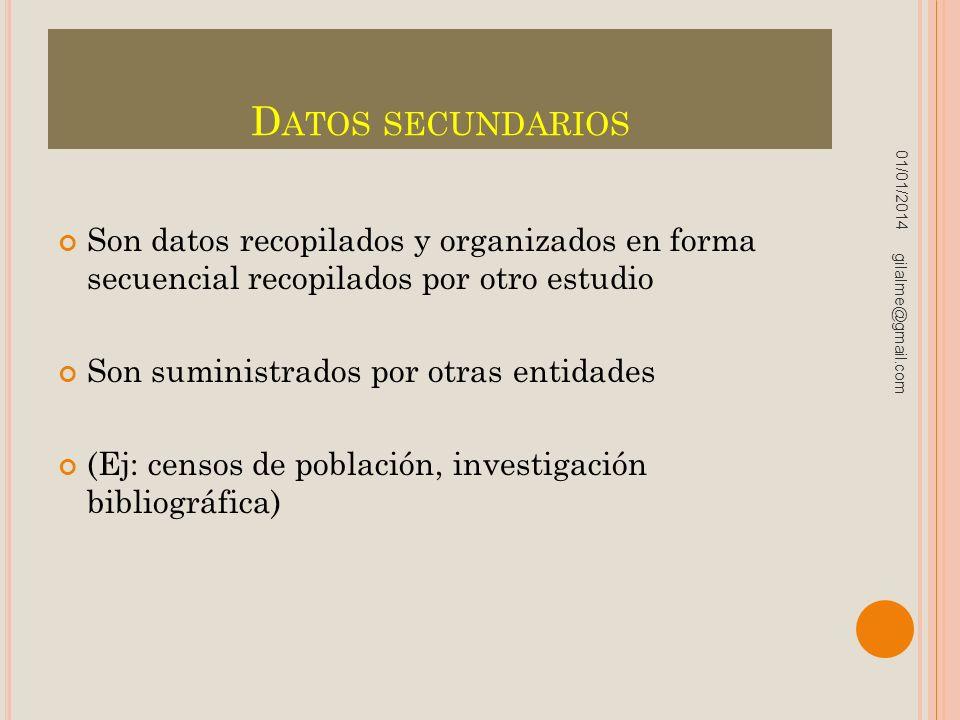 Datos secundarios 23/03/2017. Son datos recopilados y organizados en forma secuencial recopilados por otro estudio.