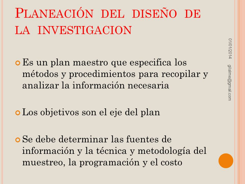 Planeación del diseño de la investigacion