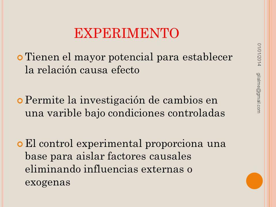 experimento 23/03/2017. Tienen el mayor potencial para establecer la relación causa efecto.