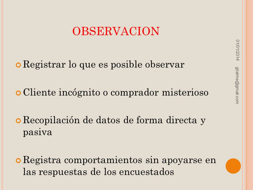 observacion Registrar lo que es posible observar