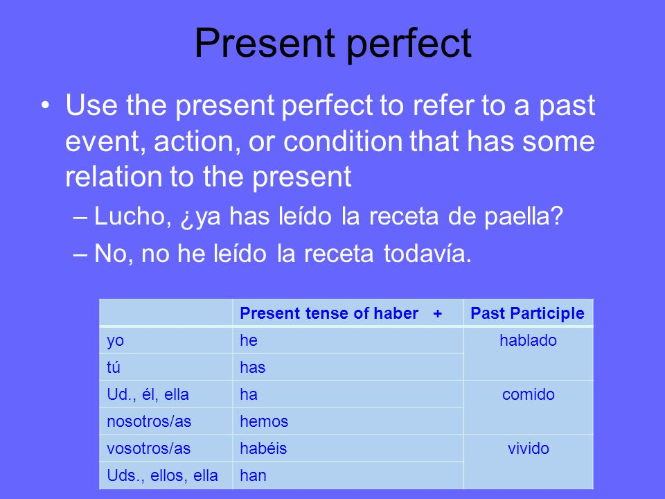 Present perfect Use the present perfect to refer to a past event, action, or condition that has some relation to the present.