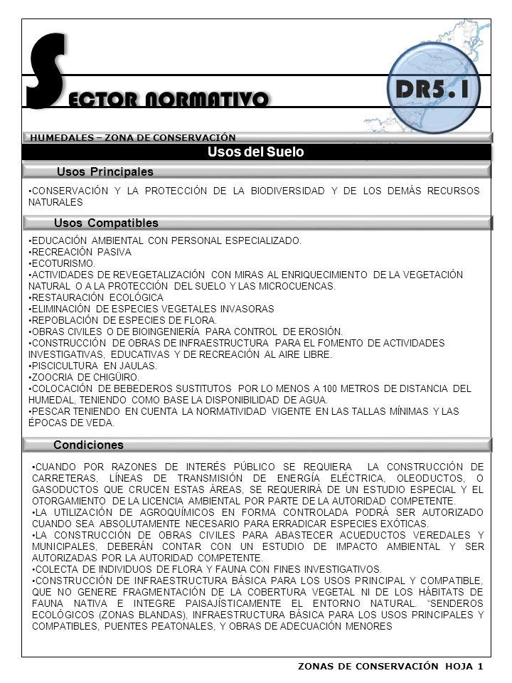 SECTOR NORMATIVO DR5.1 Usos del Suelo Usos Principales