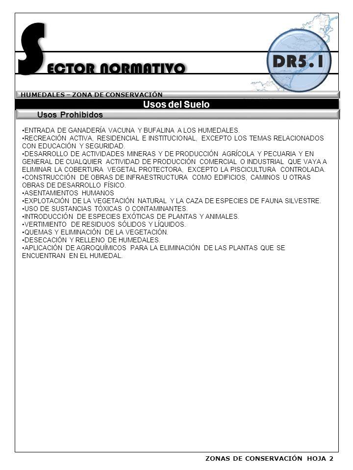 SECTOR NORMATIVO DR5.1 Usos del Suelo Usos Prohibidos